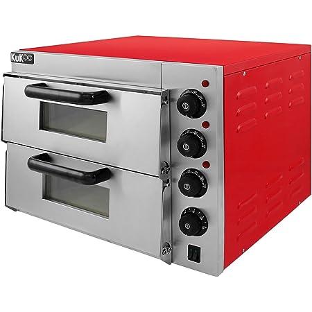 Kukoo - Horno de Pizza Eléctrico de 3KW Horno para Pizza con Cajón de Pizza Profesional Acero Inoxidable 350 ℃ Mini Horno de Sobremesa Un Solo Horno ...