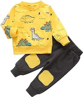 Kid Toddler Baby Boy Fall Winter Sets Dinosaur Sweatshirt and Pants Set Tracksuit Sweatsuit 2PCS Legging Pants Set
