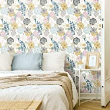 RoomMates - RMK11328WP Perennial Blooms Peel and Stick Wallpaper, Pink