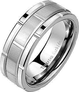 خاتم Newshe من التنجستين للرجال خواتم زفاف له خاتم نمط الطوب مصقول 8 مم الحجم 9-13