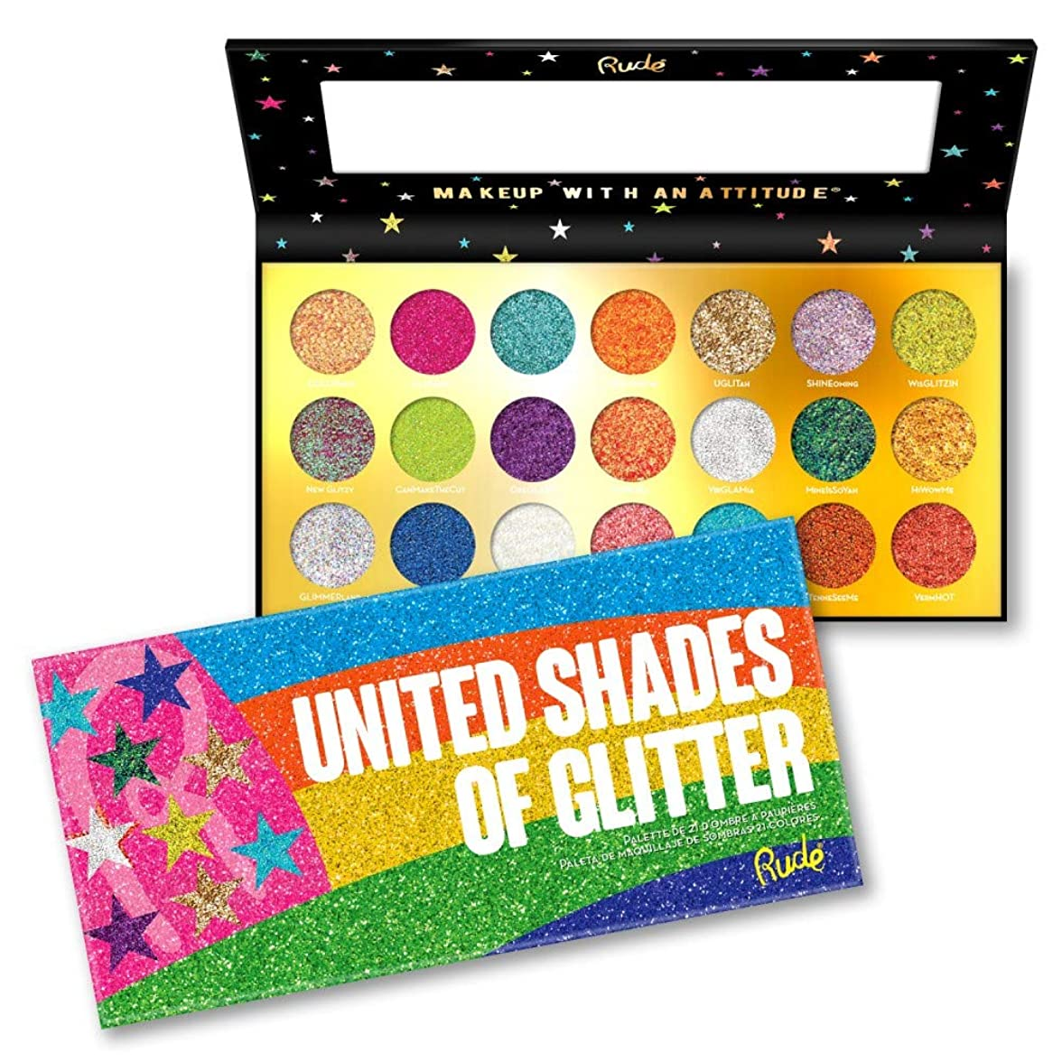 放棄された書店キャンベラ(6 Pack) RUDE? United Shades of Glitter - 21 Pressed Glitter Palette (並行輸入品)