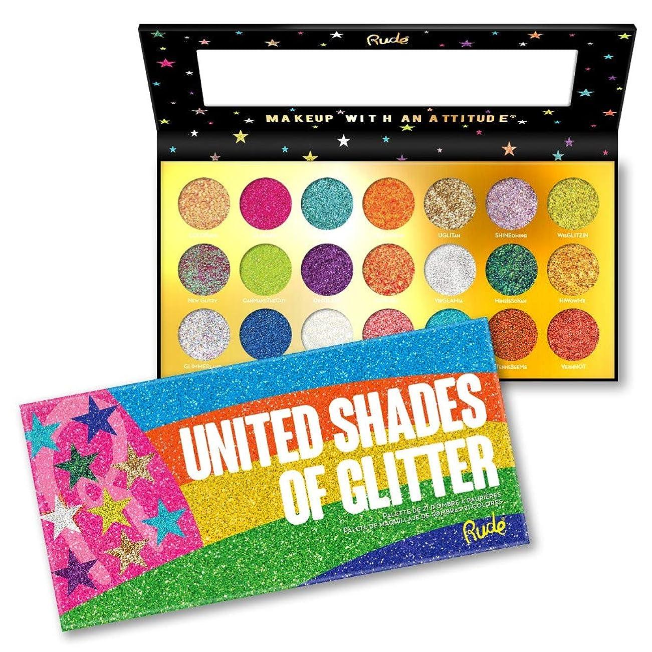 フロー折る意外(3 Pack) RUDE? United Shades of Glitter - 21 Pressed Glitter Palette (並行輸入品)