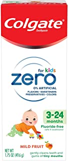 Colgate Zero Baby and Toddler Fluoride Free and SLS Free Toothpaste, Natural Mild Fruit - 1.75 Ounce