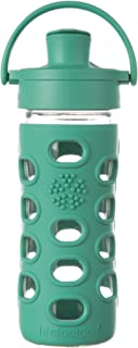 Lifefactory 12-Ounce BPA-Free Glass Water Bottle with Active Flip Cap and Silicone Sleeve, Kale