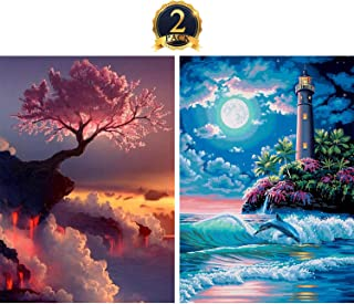5D Diamond Painting Full Drill by Number Kits for Adults Kids, DIY Rhinestone Pasted Paint Set for Arts Craft Decoration 2 Pack by Yomiie, Cloud Tree (12x16inch) & Seaside Lighthouse (12x16inch)
