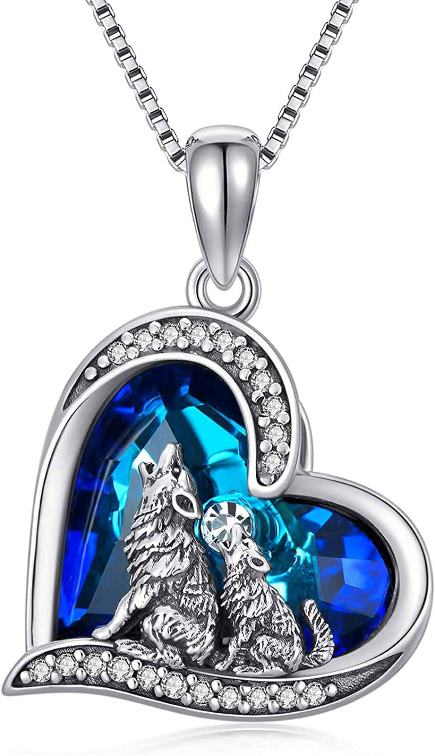 POPKIMI Purchase Sterling Silver Wolf Pendant Howling Jewelry Neckla A surprise price is realized