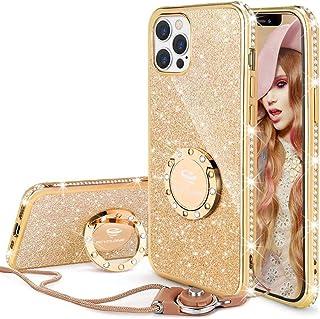OCYCLONE iPhone 12 Pro Max Case, Cute Glitter Sparkle Bling Diamond Rhinestone Bumper Case with Ring Kickstand Women Girls...