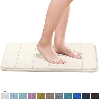 Memory Foam Coral Velvet Non Slip Bathroom Mat Slip-Resistant Extra Absorbent Bath Mat Set Non Slip Dry Fast Bath Mat, 17W X 24L Inches (Ivory White Striped Pattern)
