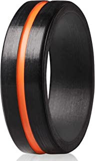 ThunderFit Silicone Rings for Men 4 Rings / 1 Ring - Bevel Thin Line Rubber Wedding Bands