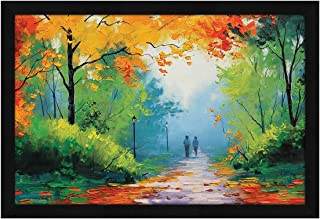 ArtX Paper Romantic Couple Nature Walk Scenic Framed Wall Art Painting, Multicolor, Nature, 13 X 19 inches, Set of 1