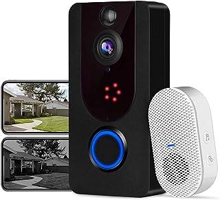 Visiophone sans Fil, Bextgoo Sonnette sans Fil avec Camera, 1080P résolution FHD, Vision Nocturne Claire, Stockage icloud ...