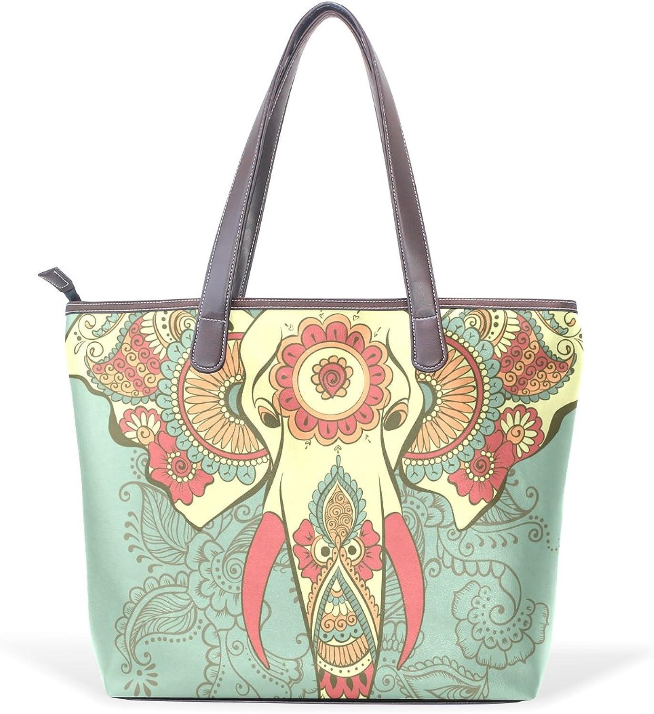 COOSUN COOSUN COOSUN Elefant auf den Henna indischen großen Tote PU-Leder-Handgriff-Schulter-Beutel-Taschen-Tasche L (33x45x13) cm MultiFarbe   001 B07C3TYK9Z  Nicht so teuer b4a190