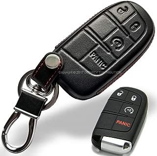 Massimiliano Incas Dobrev 4 Button Genuine Leather Case Protector Key Fob Smart Car Remote Holder for Dodge Ram Durango Challenger Jeep Trailhawk Grand Cherokee Smart Key (Black Leather)