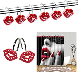 Red Lips Shower Curtain Hooks, Metal Decorative Resin Hooks, Shower Curtain Rings for Bathroom, Living Room Shower Rods Curtain and Liner, Rustproof Metal Hooks -12 Sets