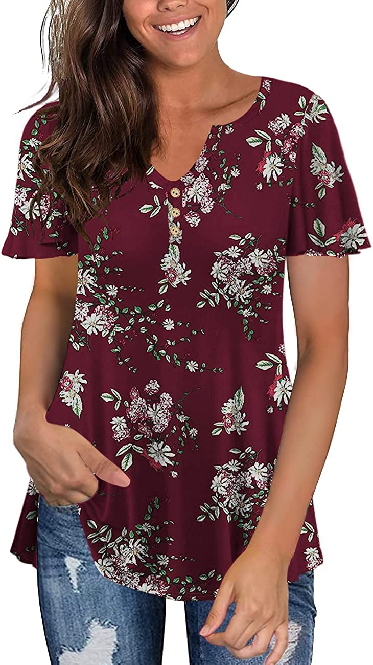 Tralilbee Women's Plus Size Long Sleeve Shirt Max 69% OFF Free Shipping New Henley V Nec Flowy