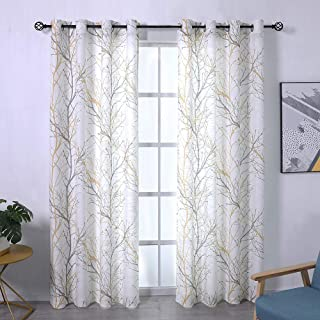 Fmfunctex Tree Print Yellow Grey and White Curtains for Living Room Windows - Linen Textured Grommet Branches Pattern Window Treatment Set for Bedroom - 50