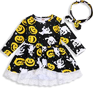 HAPPYMA Halloween Outfits Toddler Baby Girl Pumpkin Ghost Lace Trim Long Sleeve Dress + Headband Fall Winter Skirts Sets 2PCS