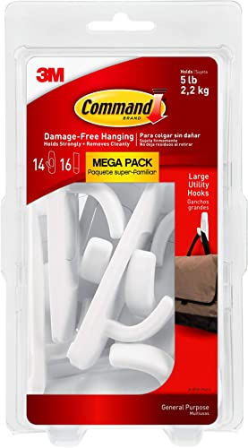 """Command 17003-MPES Large Utility Mega Pack Hook, 3.9"""" x 1.8"""" x 0.9"""", White, 14 Count"""