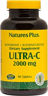 NaturesPlus Ultra C W/Rose Hips, Sustained Released - 2000 mg, 90 Vegetarian Tablets - Maximum Potency Immune Support, Ant...