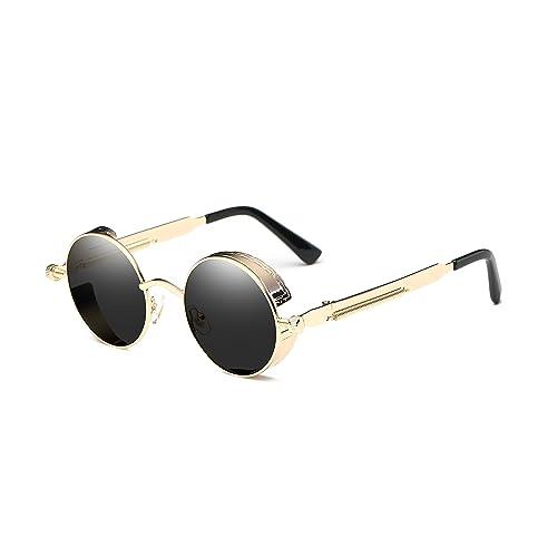 124667bec0 Dollger Vintage Steampunk Retro Metal Round Circle Frame Sunglasses