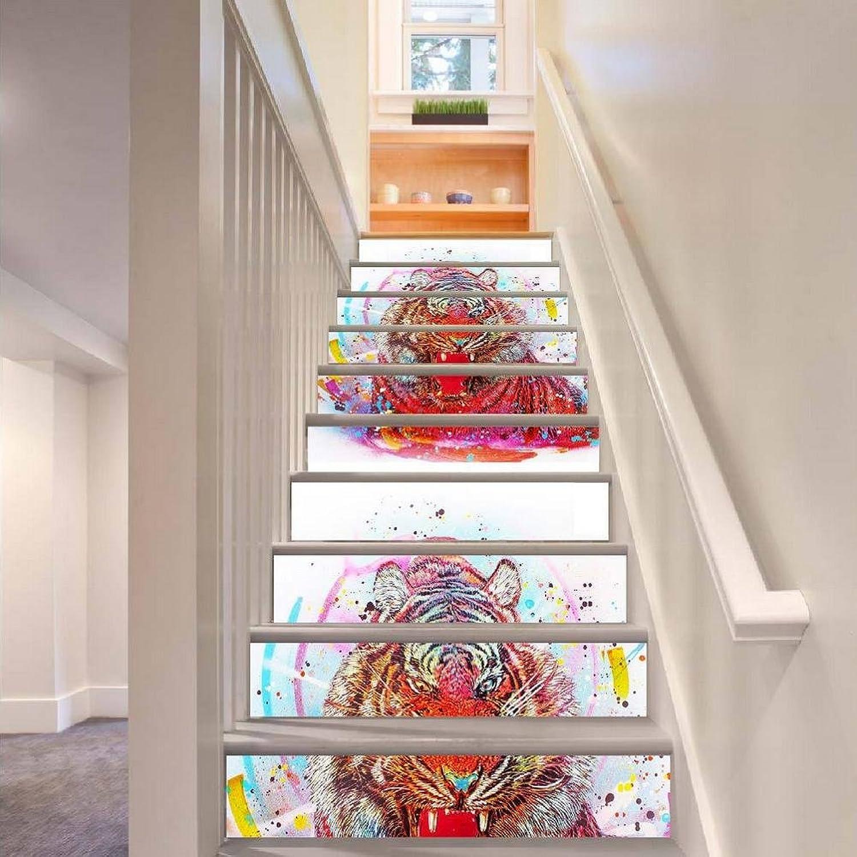 TIEZHI Kinderzimmer Dekoration Enorm Tiger DIY Wandgemälde Kreativ 3D Treppen Aufkleber Selbstklebend Tapete Abziehbilder, 1 Set 18 pcs, 100  18cm B07CBSWY7Z | Einfach zu bedienen