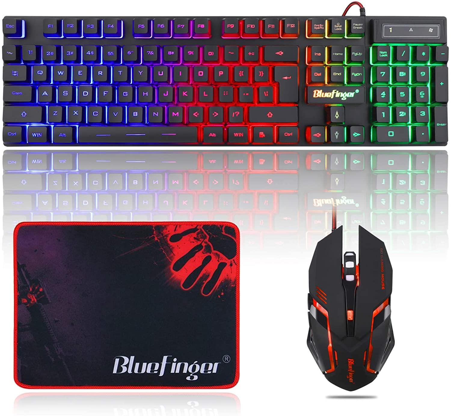 BlueFinger outlet RGB Gaming Keyboard Minneapolis Mall and Mouse Backlit USB Wire Combo