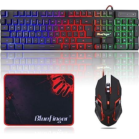 BlueFinger - Teclado RGB para juegos y ratón con retroiluminación, teclado con cable USB, retroiluminado, juego de teclado LED para juegos y trabajo.