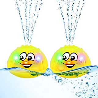 2 Pieces Spray Water Bath Toy Spray Water Squirt Toy Light Up Float Toy Induction Spray Water Toy Waterproof Fountain Toy ...