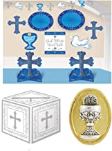 First Holy Communion Boy Party Celebration Pack - Complete Room Decorating Kit, a Gift Card Box and a Tie Tac Pin Gift