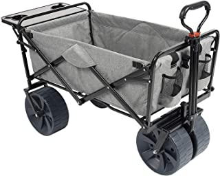 Mac Sports Collapsible Folding Outdoor Beach Wagon with Side Table, Perfect for Camping, Concerts, Sporting Events, The Beach, and More - Light Gray
