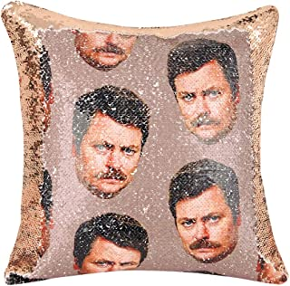 Merrycolor Parks and Recreaton Gifts Ron Swanson Funny Sequin Pillow Cover Color Change Mermaid Pillow Case Throw Cushion ...