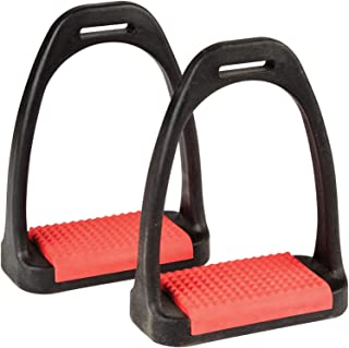 Korsteel with Coloured Treads Polymer Stirrup Irons 4 3/4 inch Red