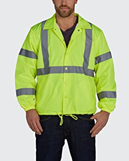 Utility Pro UHV600 Nylon Lightweight High-Vis Windbreaker with Elastic Cuff with Dupont Teflon fabric protector,  Lime,  5X-Large