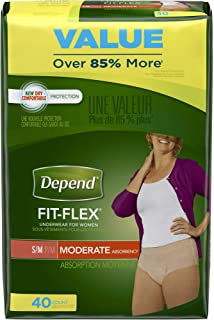 Depend FIT-Flex Incontinence Underwear for Women, Moderate Absorbency, S/M, 40 Count