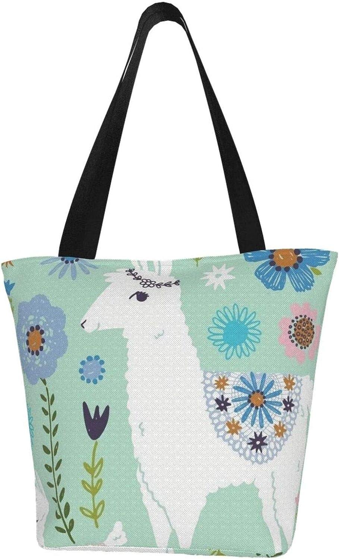 Llama White Flowers Lovely Themed Printed Women Canvas Handbag Zipper Shoulder Bag Work Booksbag Tote Purse Leisure Hobo Bag For Shopping