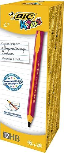 BIC Kids Ecriture Crayons à Papier d'Apprentissage Triangulaires Extra-Larges HB - Corps Rose, Boîte de 12