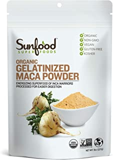 Sunfood Superfoods Gelatinized Maca Powder Organic 8 oz Bag