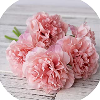 Huzzg Peony Artificial Artificial Silk Flowers for Home Decoration Wedding Bouquet for Bride Fake Flower Faux Living Room,deep Pink