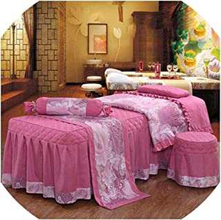 4Pcs High-Grade Beauty Salon Bedding Set Thick Bed Linens Sheets Bedspread Fumigation Spa Pillowcase Duvet Cover Sets,11,80X190Cm