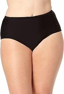 Collections By Catalina Womens High-Waist Shirred Bikini Bottom (Regular & Plus) (2X Plus, Black)