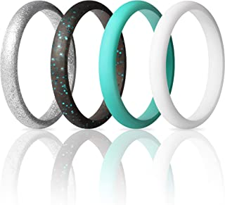 ThunderFit Women's Thin and Stackable 4 Pack Silicone Rings Wedding Bands 2.5mm Width - 2mm Thick