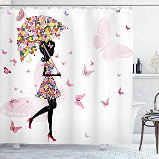 Ambesonne Feminine Shower Curtain, Girl with Floral Umbrella and Dress Walking with Butterflies Inspirational Art, Cloth Fabric Bathroom Decor Set with Hooks, 70