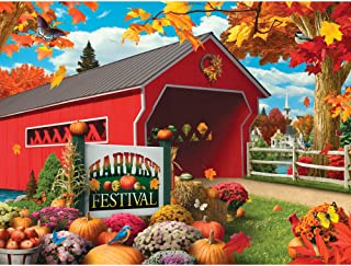 Bits and Pieces - 300 Large Piece Jigsaw Puzzle for Adults - Harvest Festival - 300 pc Fall, Autumn Scene Jigsaw by Artist Alan Giana
