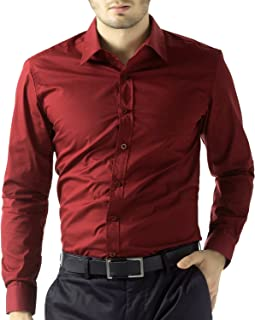 BEING FAB Men's Solid 100% Cotton Regular Fit Casual Maroon Shirt