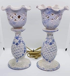 2 Abat jour Linea fiori Blu Grillage Coppetta traforata + parti elettriche Pezzi Unici Realizzato e dipinto a mano Le Cera...