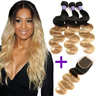 Ombre Brazilian Hair 3 Bundles With Closure, Ombre Human Hair Body Wave 3 pcs With Lace Closure (T1B/27,16 18 20+14)