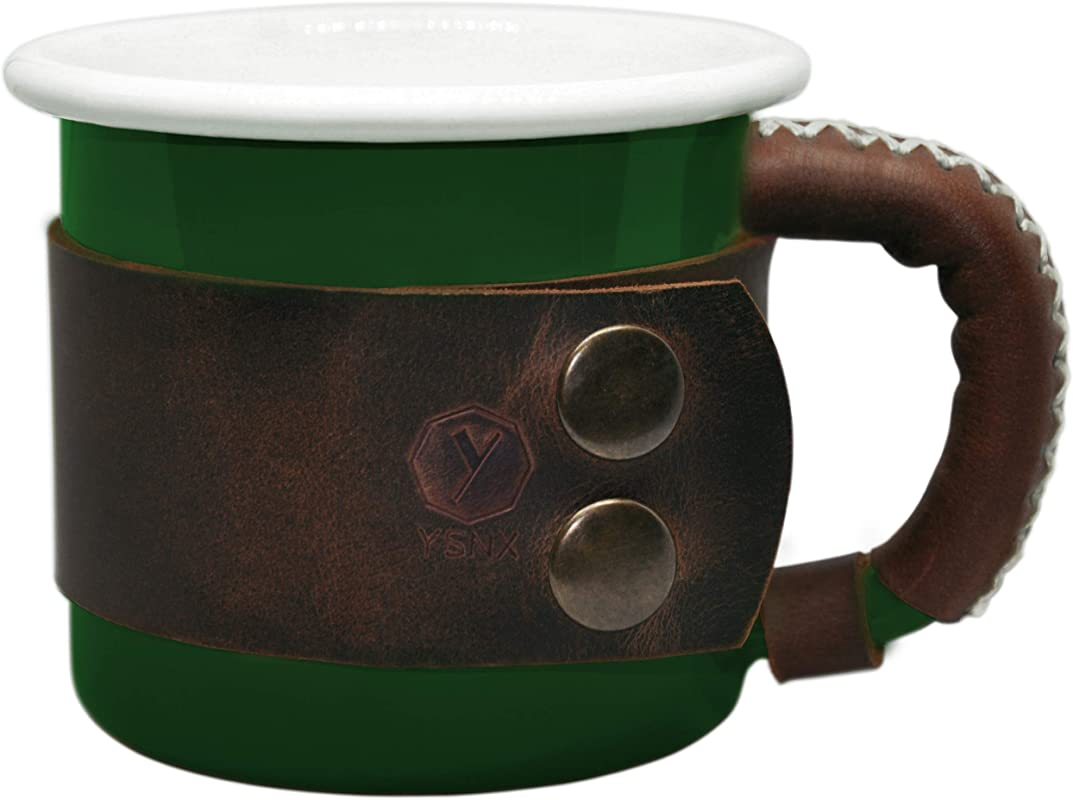 Enamel Mug With Leather Handle Camping Gear Unique Gifts Camping Coffee Mug Sports Outdoor Coffee Cup Healthy Bright Colors 14 Oz 400ml By YSNX