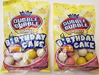 Dubble Bubble Birthday Cake gumballs, America's Original, 2 pack