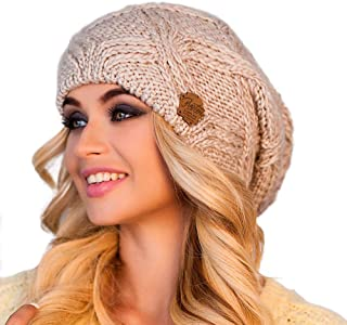 Braxton Hats Women - Warm Soft Fleece Knit Slouchy Beanie - Wool Winter Cap
