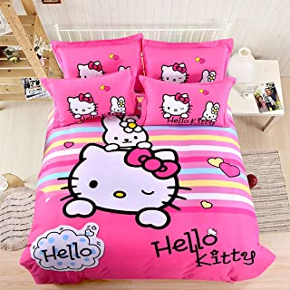 Casa 100% Cotton Brushed Kids Bedding Girls Hello Kitty Duvet Cover Set & Fitted Sheet,4 Piece,Full